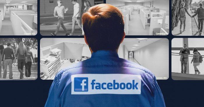 vigilante de seguridad controlandocamaras en metafora de control social a traves de las redes sociales