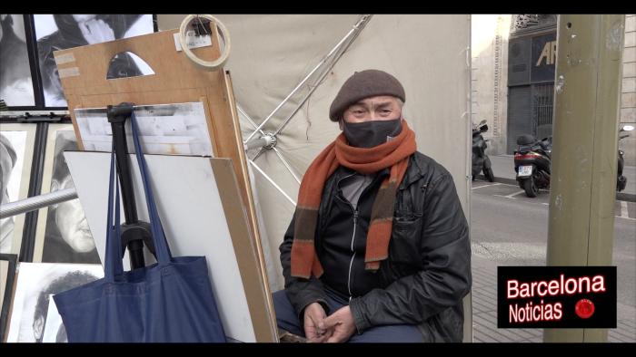 pintor de las ramblas de barcelona quejandose del ayuntamiento